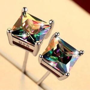 925 Sterling Silver Multicolored Stud Earrings